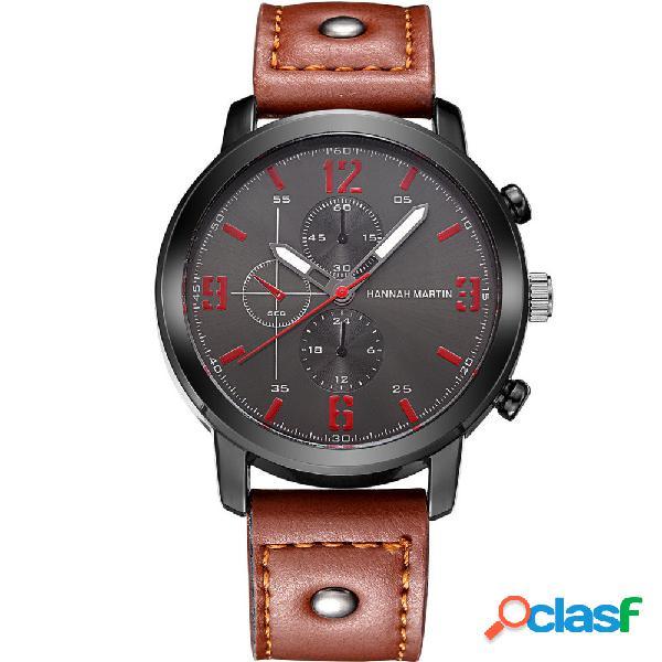 Relógio esportivo de quartzo pulseira de couro