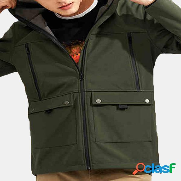 Pioneer camp casaco impermeável antivento zíper revestimento de lã com capuz