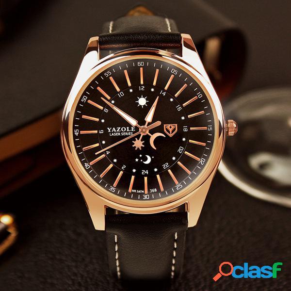 Relógio quartz de couro masculino de luxo homens negócio relógio luminoso de ouro estrela lua padrão sol relógio de pulso