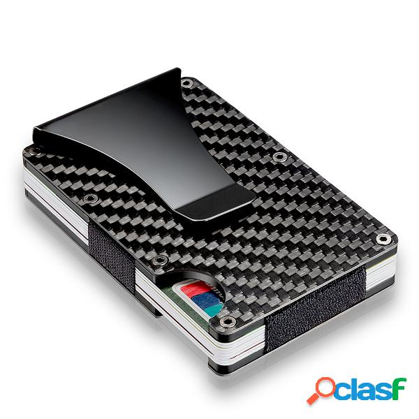 Slim carbon fiber titular do cartão de crédito rfid blocking metal wallet money clip case
