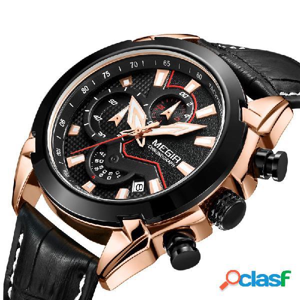 Megir relógio de quartzo militar formal esportivo luxuoso cronógrafo