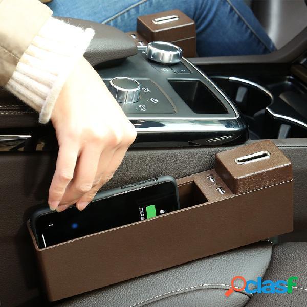 Suporte multifunctional do telefone da carga de usb da caixa de armazenamento de gap do banco de carro