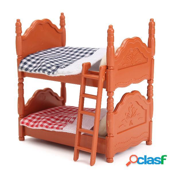 Suportes de madeira da casa de boneca da mobília da cama de casal