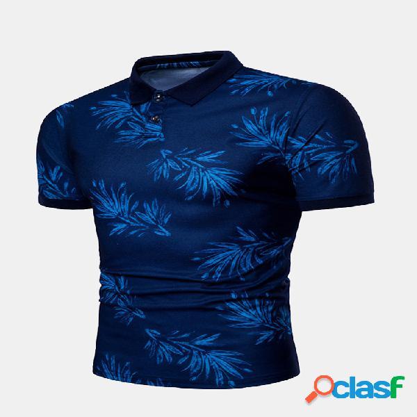 Mens business casual impresso camisetas turn-down collar slim fit camisa de golfe de algodão de manga curta