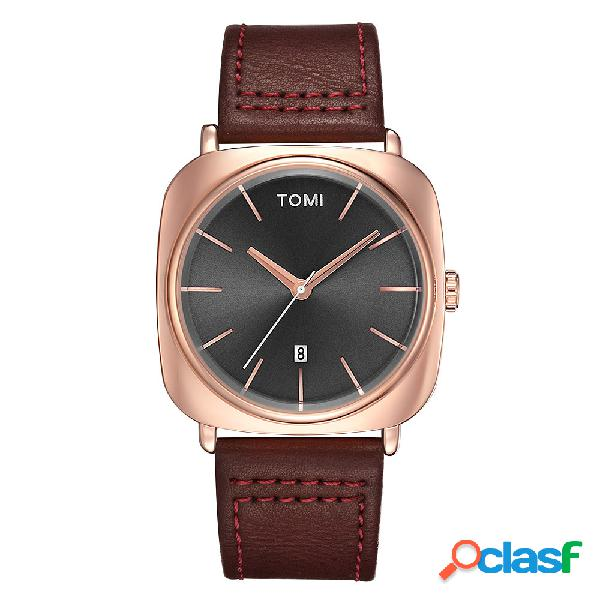 Relógio masculino da moda de negócio de banda de couro de dial quartz