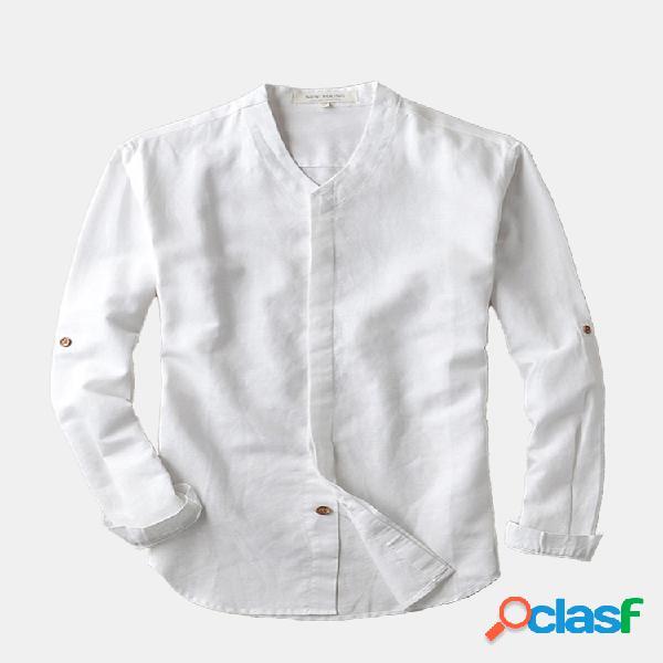 Botão de madeira invisível respirável retro slim camisas de manga comprida para homens