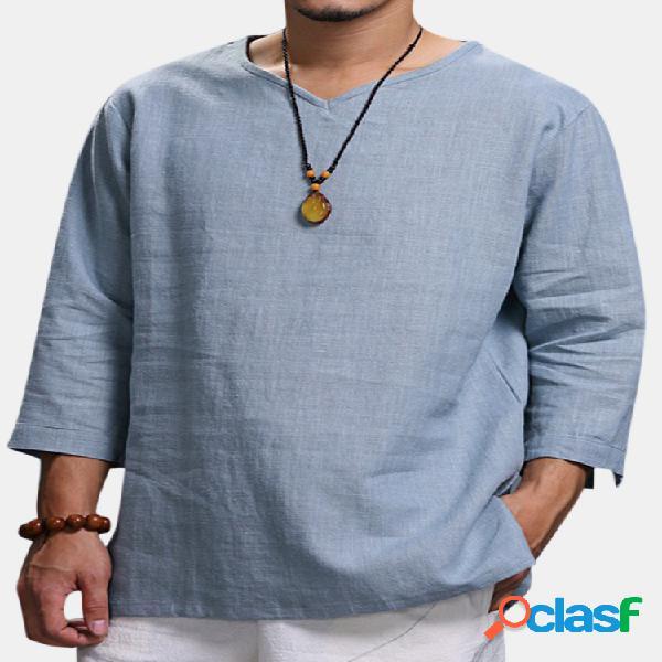 Camiseta masculina de estilo chinês de cor sólida de v-gola de manga-meia solta