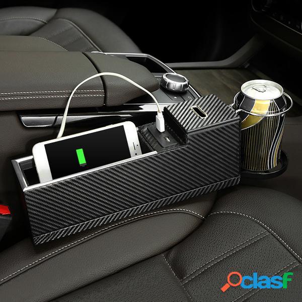 Carregador usb car seat fenda caixa de armazenamento assento gap filler organizador cup holder