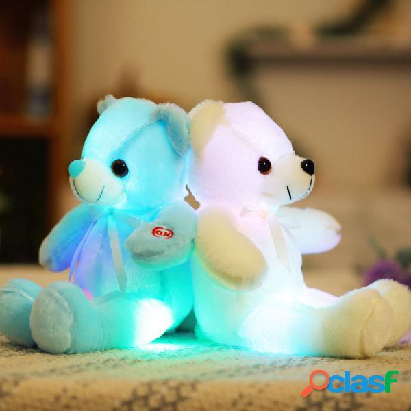 32 cm pequeno led luz brinquedos de pelúcia urso piscando travesseiro luminoso de pelúcia boneca animal macio