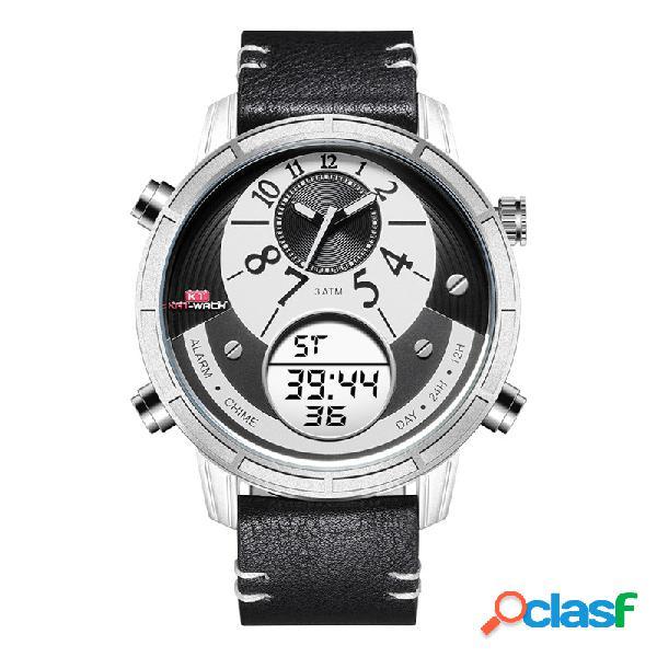 Esporte quartz digital display duplo dial relógio de pulso à prova d'água luminous relógio pulseira de couro para homens