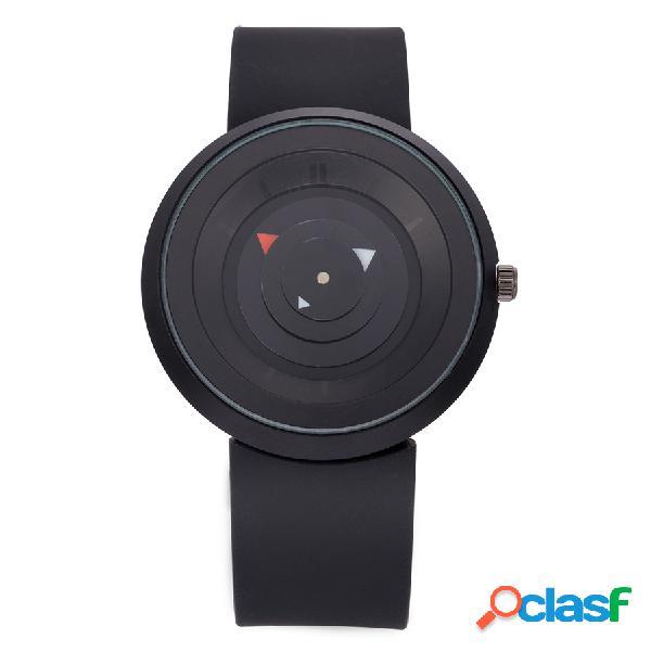 Moda unissex quartz relógio de pulso silicone strap concise segundo disco relógios criativos para mulheres homens