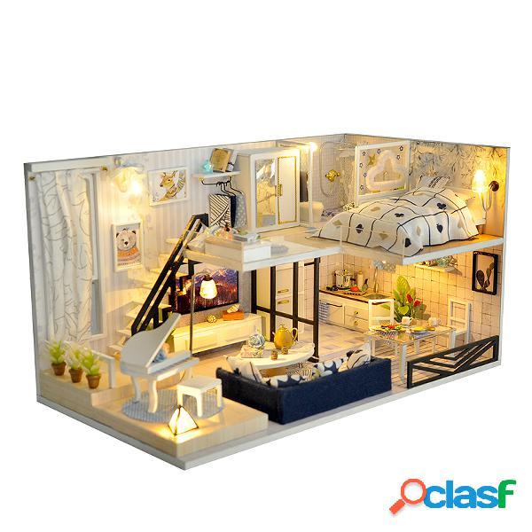 Sombra do tempo casa de boneca moderna diy kit casa de bonecas em miniatura com móveis levou caixa de luz presente