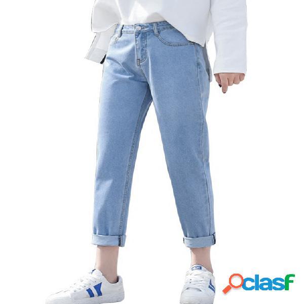Jeans reto casual cor sólida de cintura alta
