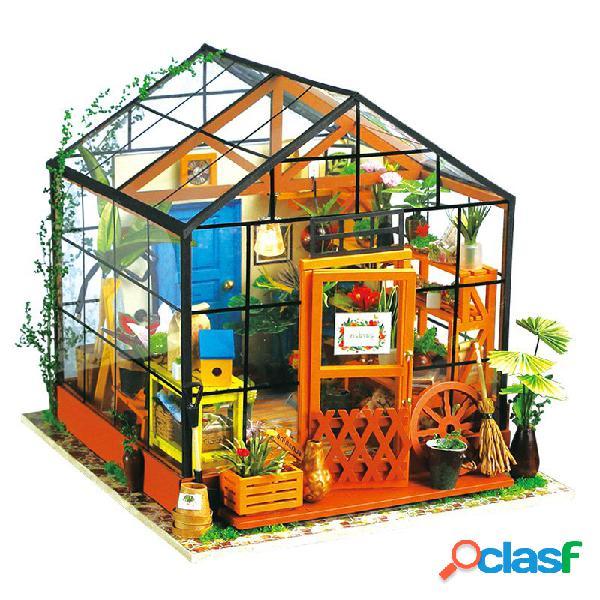 Robotime diy casa de boneca kit cathy flor com efeito de estufa dg104 casa de bonecas decoração de presente