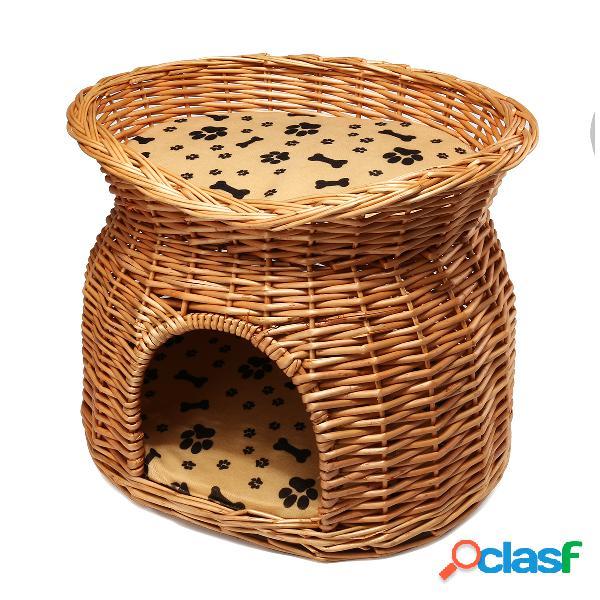 2 camadas de vime cama de gato cesta pet pod casa dormindo almofadas cachorro cão pequeno cama