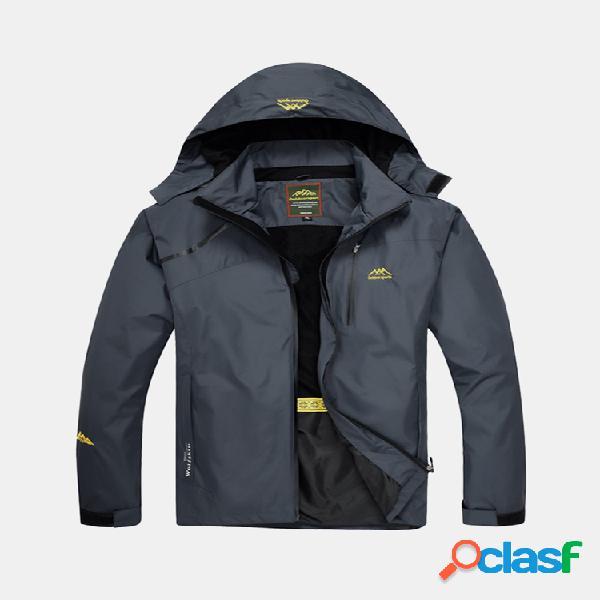 Mens hiking sport cap removível à prova de vento impermeável multi pocket outdoor casaco com capuz casual