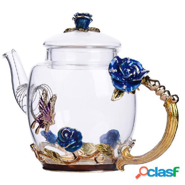 Conjunto de bule de vidro de borosilicato alto bule de esmalte requintado flor borboleta chaleira impressa