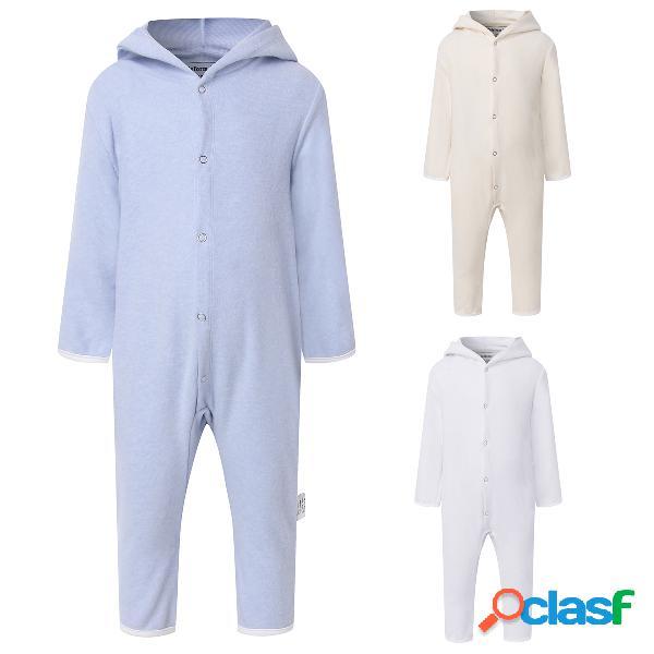 Macacão de lã com capuz para bebê com fecho de botão e manga comprida para 0-24m