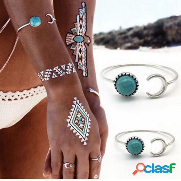 Pulseira pulseira de imitação do vintage turquesa ajustável manguito pulseira jóias étnicas para as mulheres
