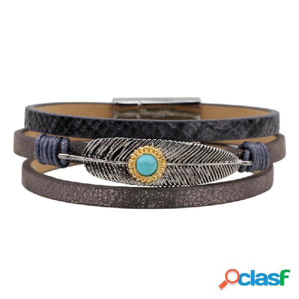 Pulseira de couro do vintage pulseira turquesa onda de penas multilayer pulseira jóias étnicas para homens