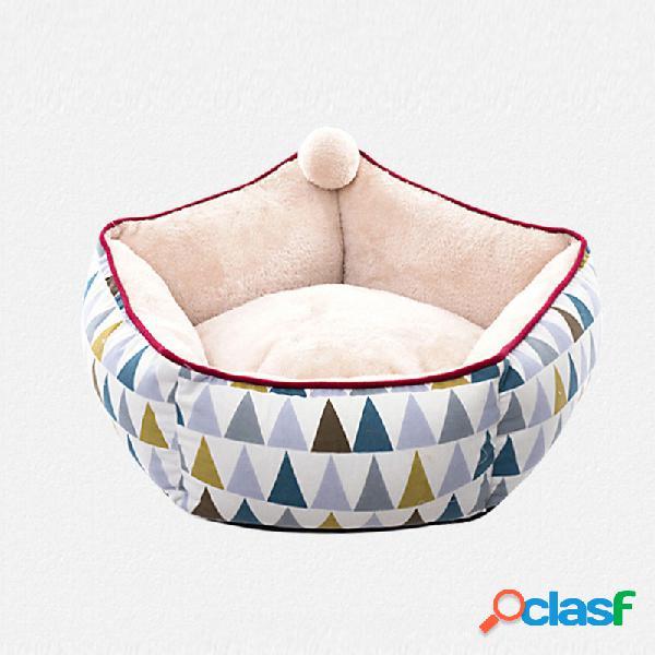 Canil morno profundo da cama do gato do cão do ninho do sono do animal de estimação macio profundo do hexágono para o inverno