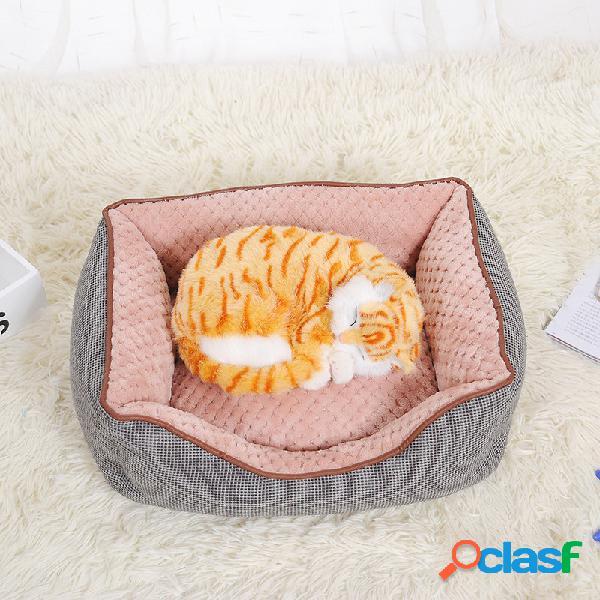 2 cores de pelúcia curto pet sofá-cama com colchão de dormir cama colchão de dormir