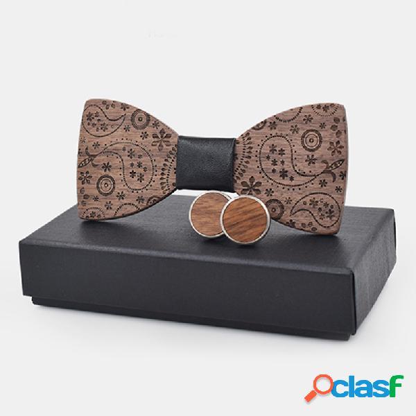 Homens do vintage requintado de madeira bow cufflink camisa metal cufflinks para o presente do casamento bussiness