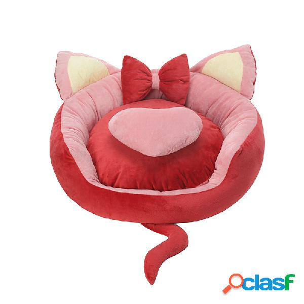 Gato adorável forma de veludo de cristal cama de cachorro de dorminhoco de canil cama de cachorro gato cama redonda macia