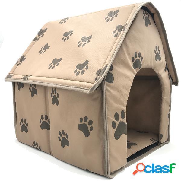 Pata padrão dobrável tecido pet dog cave casa anti-risco puppy crates