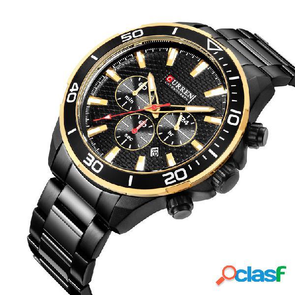 Relógio de quartzo de estilo de negócios relógio de cintura de homens de aço inoxidável relógio impermeável para homens