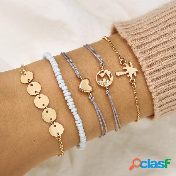 Boêmio pulseira weave set 5 peça de arroz frisado pulseira de coco da árvore do amor pulseira para as mulheres