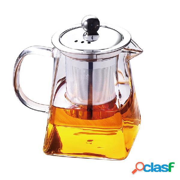 Bule de vidro resistente a alta temperatura solto folha bule de café chá de flores com tampa de filtro infusor