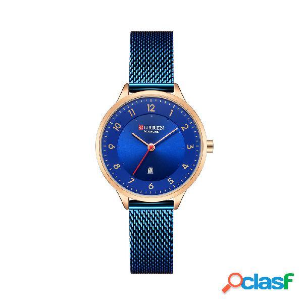 Relógio de quartzo de moda relógio de quartzo moda azul relógio de mulheres de design simples relógio de quartzo de aço completo