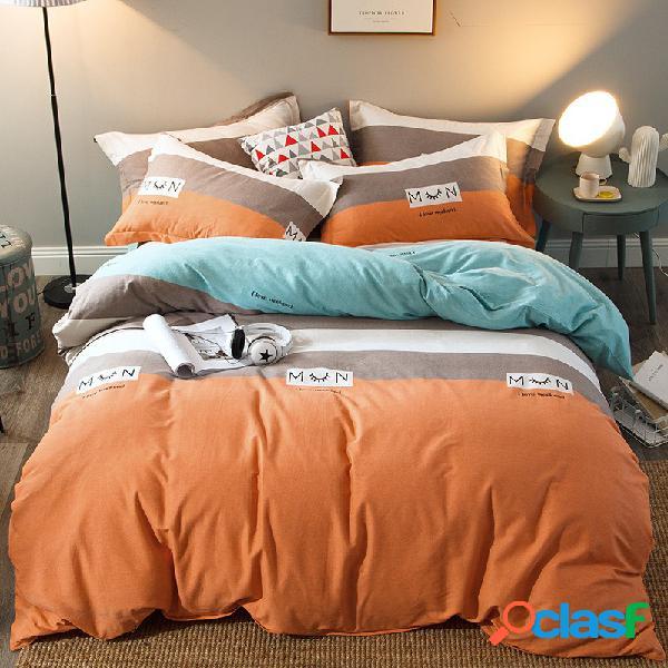4 pcs 100% algodão engrossar conjunto de cama king queen completa capa de edredon colcha folha de cama fronha