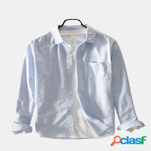 100% algodão casual cor sólida turn down collar manga comprida negócios camisa