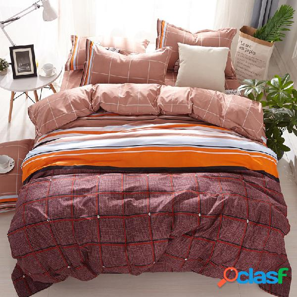 4pcs conjuntos de cama listrada queen king size colcha conjuntos colcha