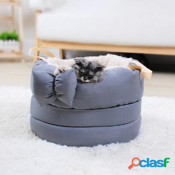 6 cores pet bow tie macio quente ninho cão gato inverno cama dormir canil