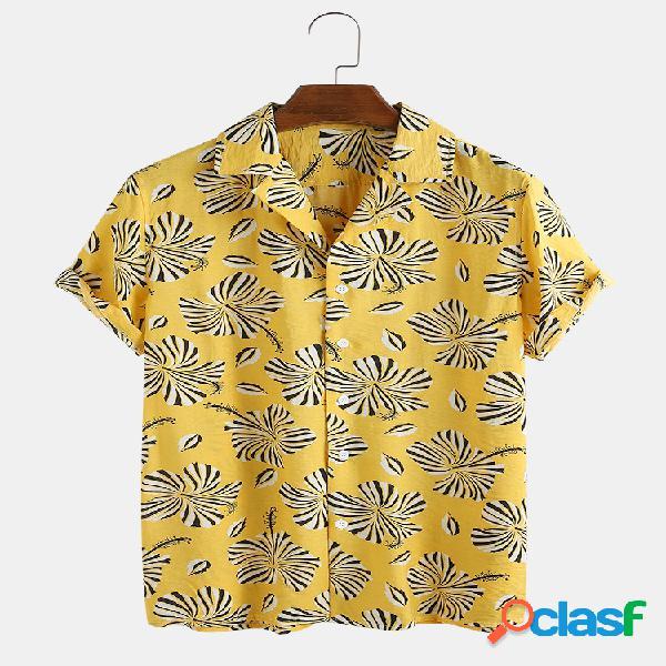 Homens 80% algodão flor estampado leve e respirável casual lapela manga curta camisa