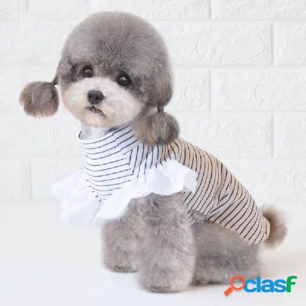 Pet listrado camisa primavera e verão filhote de cachorro gato cachorro roupas pet fornecimentos