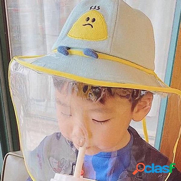 Sol infantil chapéu tampão de poeira transparente à prova de vento de pescador chapéu