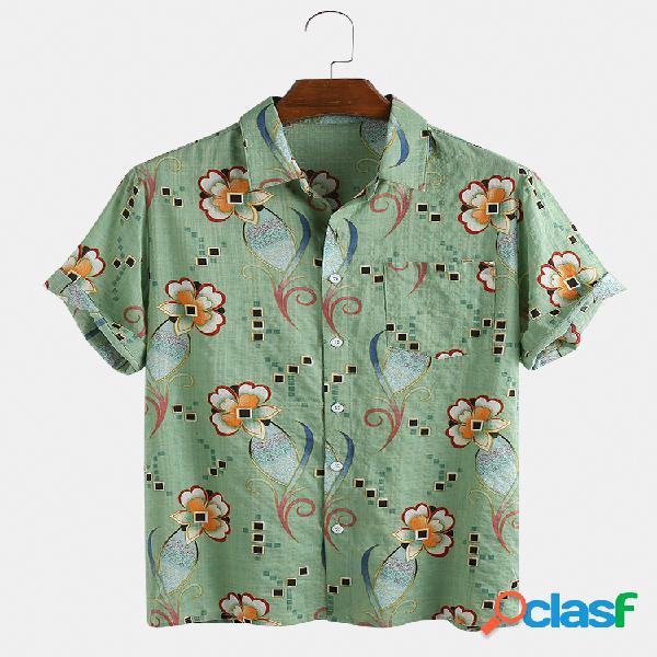 Mens 65% algodão flor impresso casual holiday lapela manga curta camisa