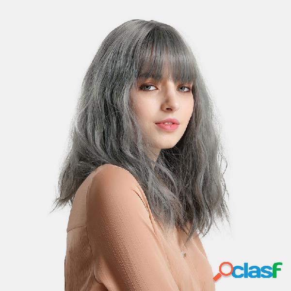 14 polegadas cinza azul onda reta curta bob peruca franja fofa natural longo sintético perucas