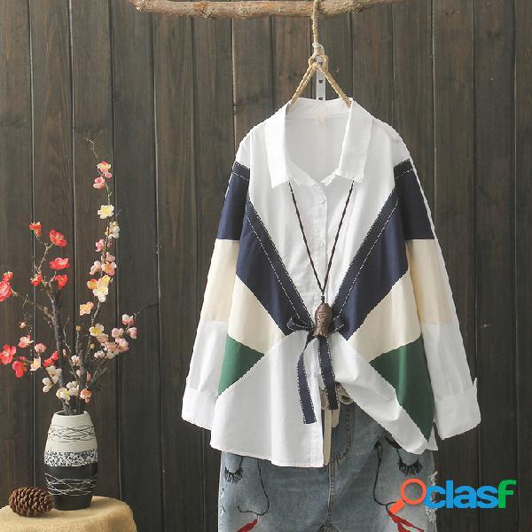 Camisa branca design literário impacto cor outono selvagem manga comprida solta top mulheres