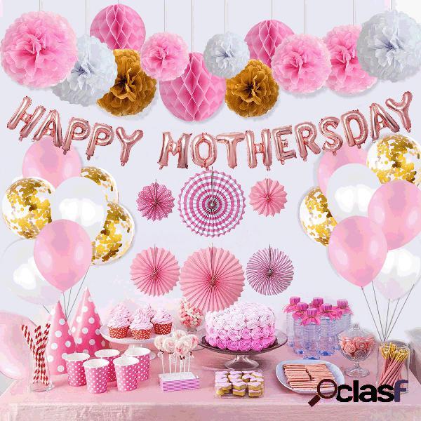 35 pcs balão guirlanda arco kit 16 polegada rosa balões de látex de ouro branco para o dia das mães conjunto de decoração