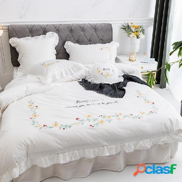 Margarida bordado 100% algodão cama king queen twin size bordado conjunto de cama capa de edredão lençol