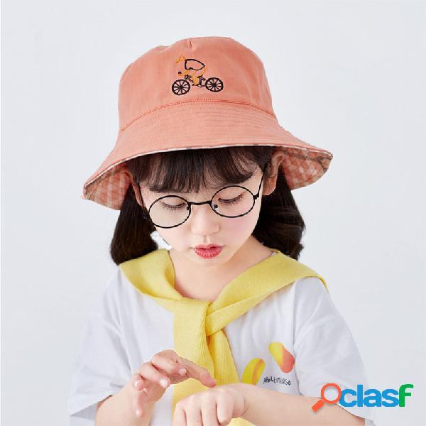 Bicicleta infantil dos desenhos animados padrão big brim fisherman chapéu top vazio chapéu
