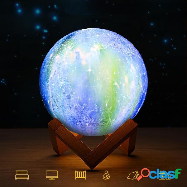 Impressão 3d lua lâmpada espaço led luz da noite controle remoto usb carga melhores presentes