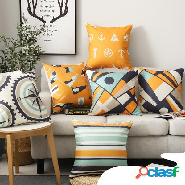Laranja abstrato padrão travesseiro de linho de algodão caso sofá de tecido casa capa de almofada mediterrânea
