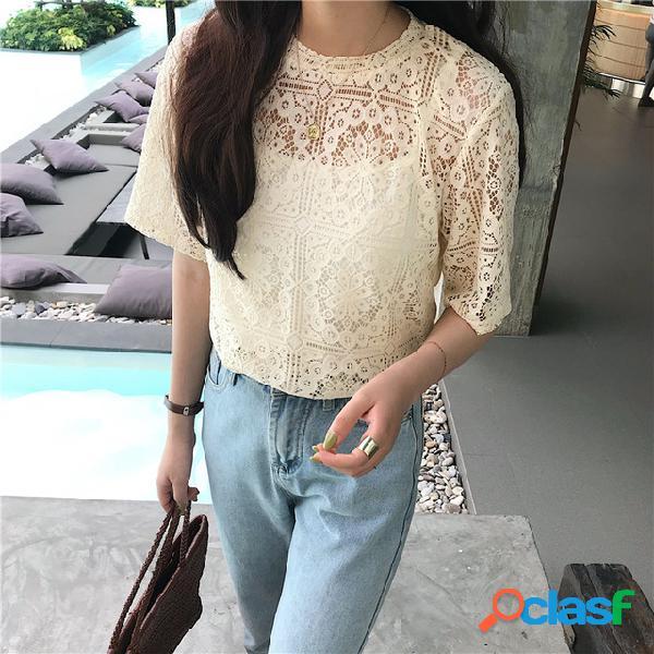Laço das mulheres camisa em torno do pescoço de manga curta t-shirt camisa mulheres