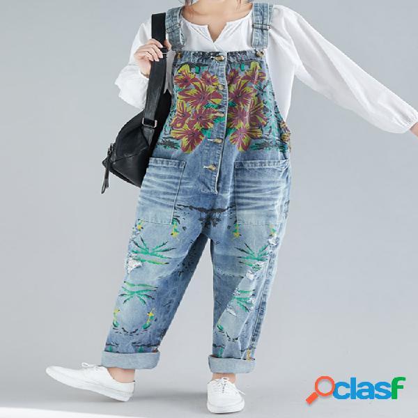 Casual imprimir floral bolsos sem mangas macacão jeans geral